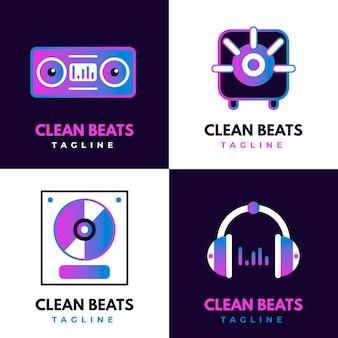 Kleurovergang gekleurde dj-logo-collectie