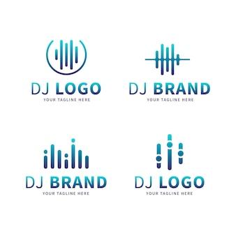 Kleurovergang gekleurde dj-logo set