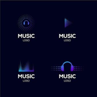 Kleurovergang gekleurde dj-logo set Gratis Vector