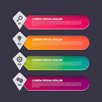 Kleurovergang gekleurde inhoudsopgave infographic sjabloon