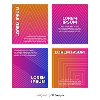 Kleurovergang geometrische lijnen brochure sjabloon collectie