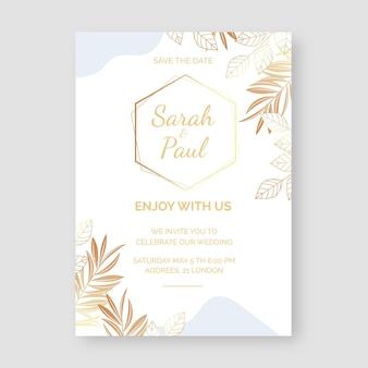 Kleurovergang gouden bloemen bruiloft uitnodiging