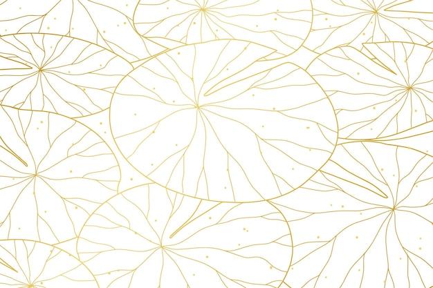 Kleurovergang gouden lineaire achtergrond met waterlelie bladeren