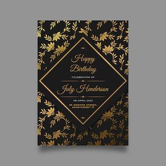 Kleurovergang gouden verjaardagsuitnodiging