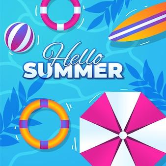 Kleurovergang hallo zomer illustratie