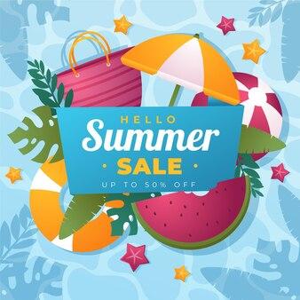 Kleurovergang hallo zomer verkoop illustratie