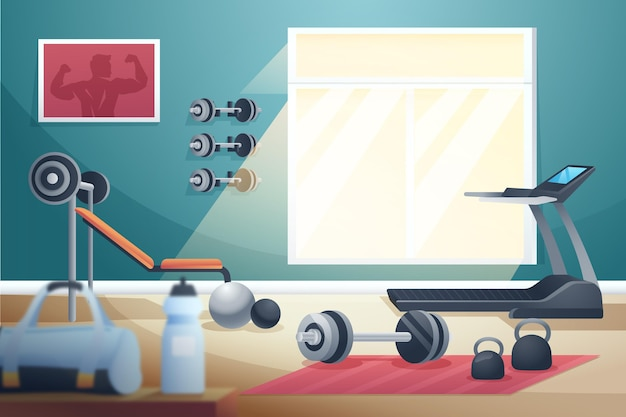 Kleurovergang home gym illustraties =