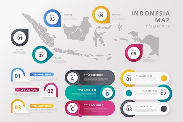 Kleurovergang indonesië kaart infographics sjabloon