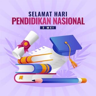 Kleurovergang indonesische nationale onderwijsdag illustratie