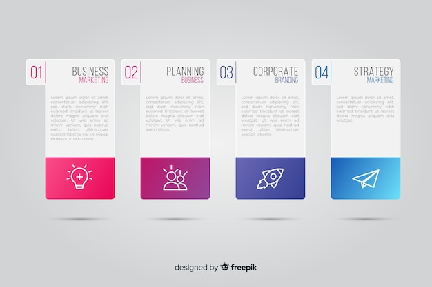 Kleurovergang infographic met flyer type vormen