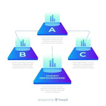 Kleurovergang infographic met piramidediagrammen