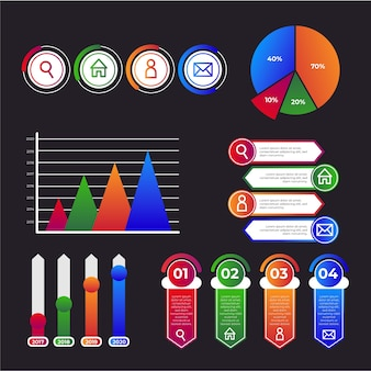 Kleurovergang infographic verzameling sjabloon