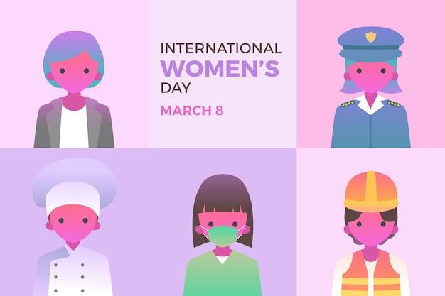 Kleurovergang internationale vrouwendag illustratie met vrouwelijke beroepen