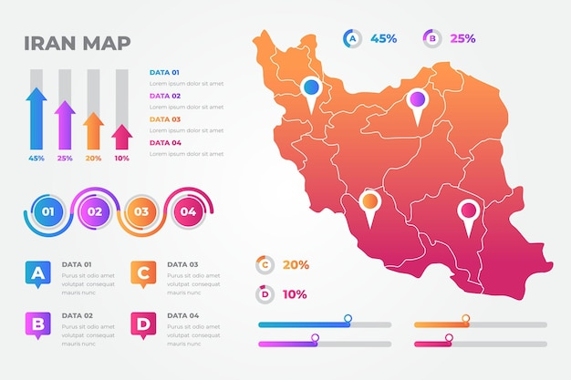 Kleurovergang iran kaart infographics sjabloon