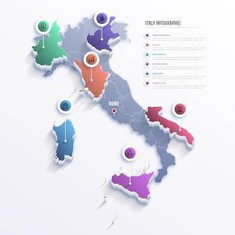 Kleurovergang italië kaart infographic