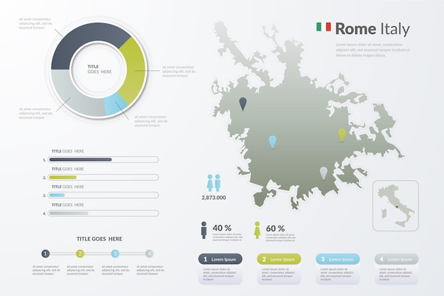 Kleurovergang italië rome kaart infographics