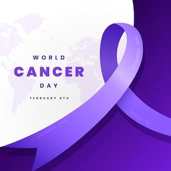 Kleurovergang kanker dag lint op wereldkaart