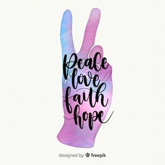 Kleurovergang kleur hand vredesteken achtergrond