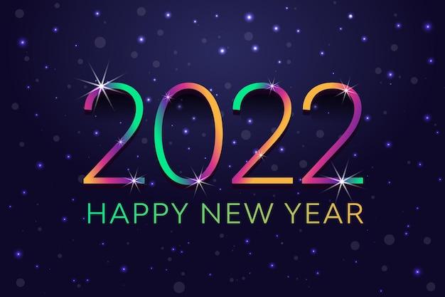 Kleurovergang kleurrijk knipperend vallend glanzend sneeuwval onthult gelukkig nieuwjaar 2022 achtergrond abstract