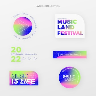 Kleurovergang kleurrijk muziekfestivallabel