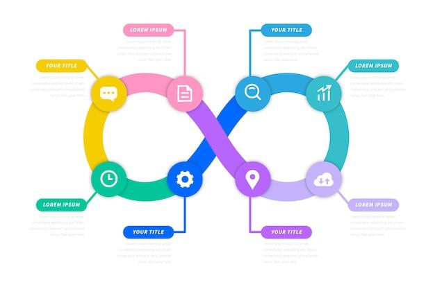 Kleurovergang kleurrijke infinity loop infograpghic