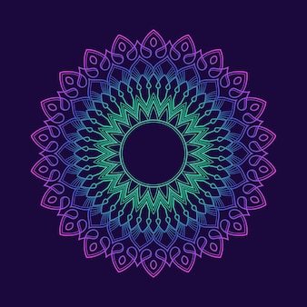 Kleurovergang kleurrijke mandala patroon achtergrondbehang. bloemenmotief in neonkleur. arabesque stof textiel.