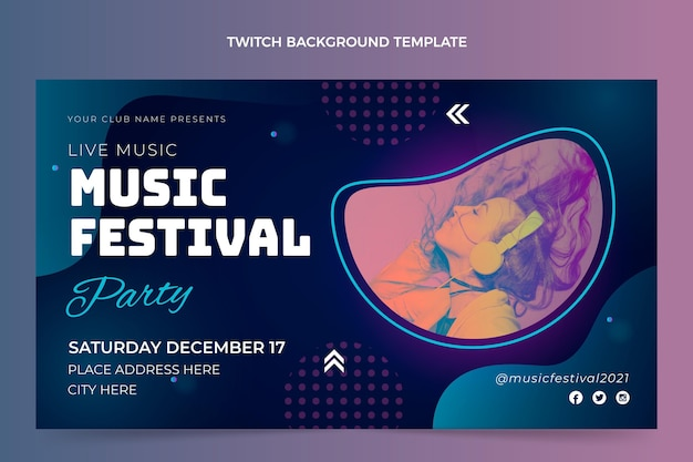 Kleurovergang kleurrijke muziekfestival twitch achtergrond