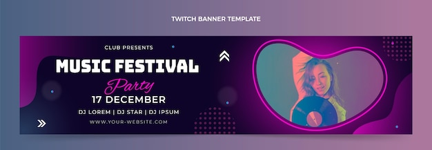 Kleurovergang kleurrijke muziekfestival twitch banner