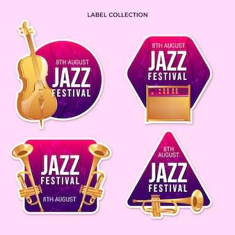 Kleurovergang kleurrijke muziekfestivallabels