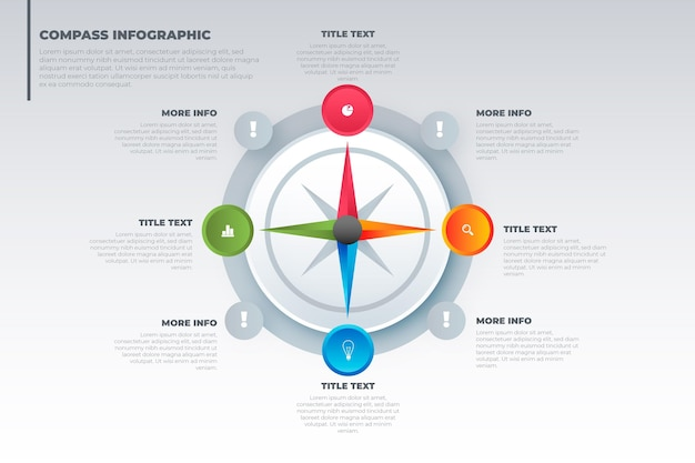 Kleurovergang kompas infographics concept