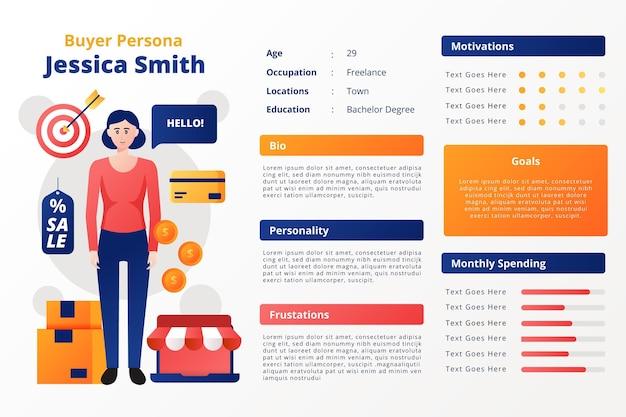 Kleurovergang koper persona infographics Gratis Vector