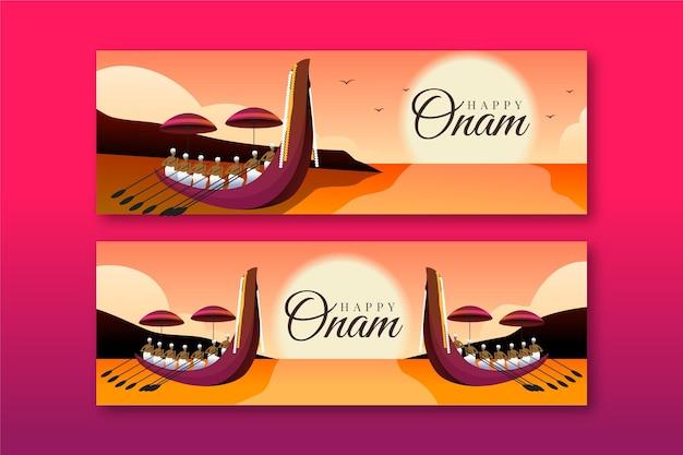 Kleurovergang onam banners set