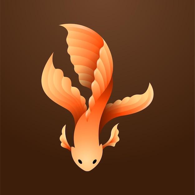 Kleurovergang oranje betta vis illustratie mascotte weergave