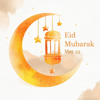 Kleurovergang oranje maan en lantaarn aquarel eid mubarak