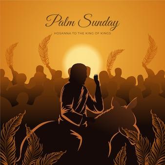 Kleurovergang palmzondag illustratie met jezus en ezel