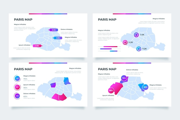 Kleurovergang parijs kaart infographics