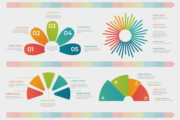 Kleurovergang radiale infographic set