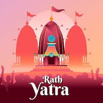 Kleurovergang rath yatra viering illustratie