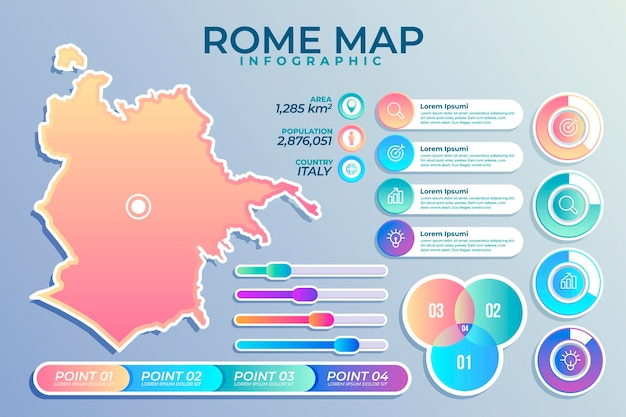 Kleurovergang rome kaart infographics