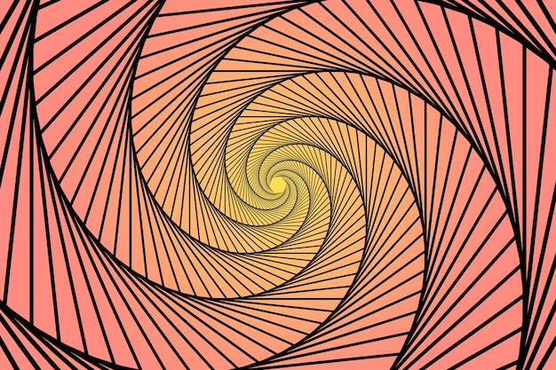 Kleurovergang roze en gele spiraal trippy achtergrond