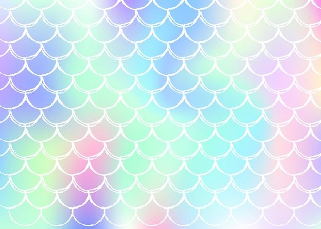 Kleurovergang schaal achtergrond met holografische zeemeermin.
