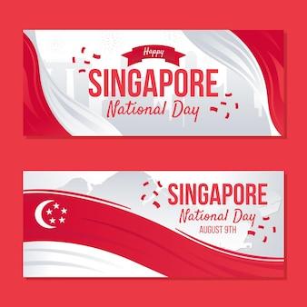 Kleurovergang singapore nationale feestdag banners set