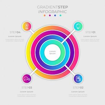 Kleurovergang stap cirkel infographic