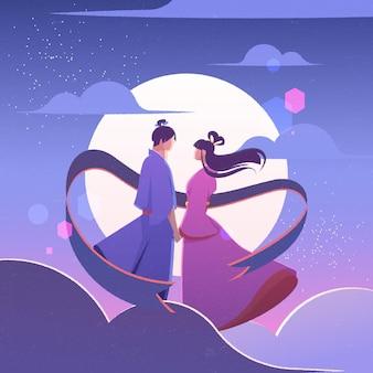 Kleurovergang tanabata viering illustratie