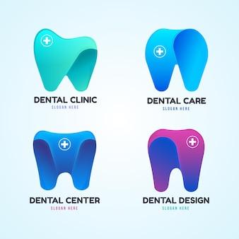 Kleurovergang tandheelkundige logo sjabloon set