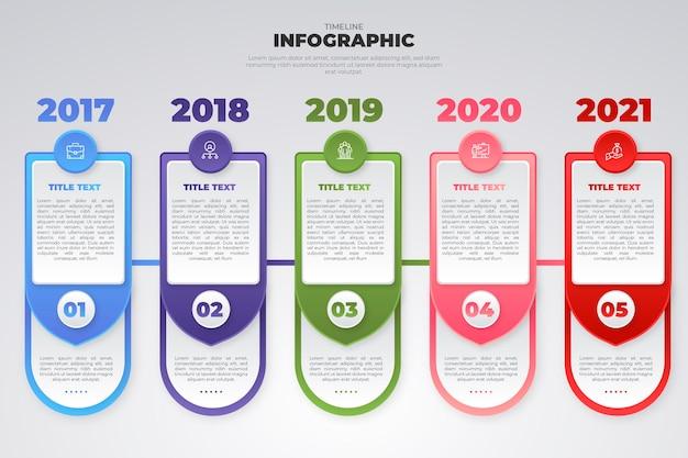 Kleurovergang tijdlijn grafische sjabloon