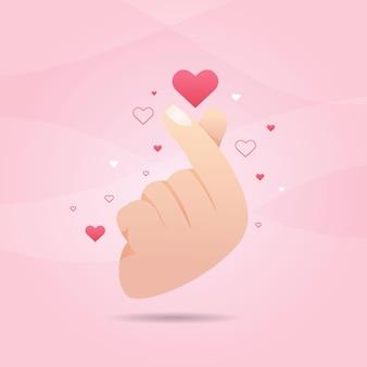 Kleurovergang vinger hart concept