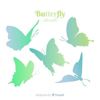 Kleurovergang vlinder zwerm silhouet achtergrond