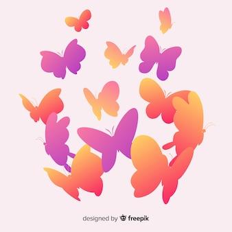 Kleurovergang vlinders silhouetten achtergrond