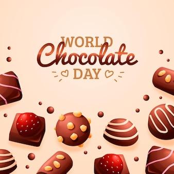 Kleurovergang wereld chocolade dag illustratie